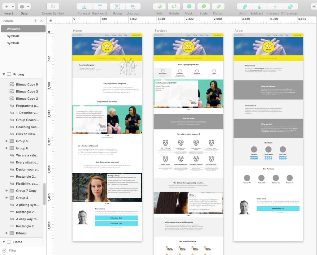 A screenshot of the wireframe designs of Know You More's website inside Sketch software.